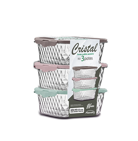 Imagem do produto: Kit 3 Potes Cristal 0,55L 9010 - Sortido