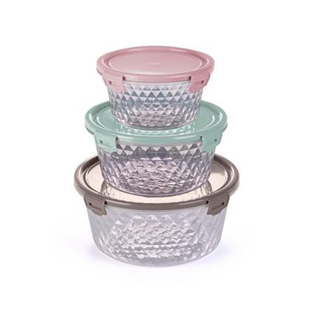 Imagem do produto: Kit 3 potes Cristal Redondo 19 - Sortido