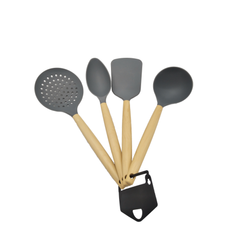 Imagem do produto: Kit 4 Utensílios de Cozinha 8763 - Cinza