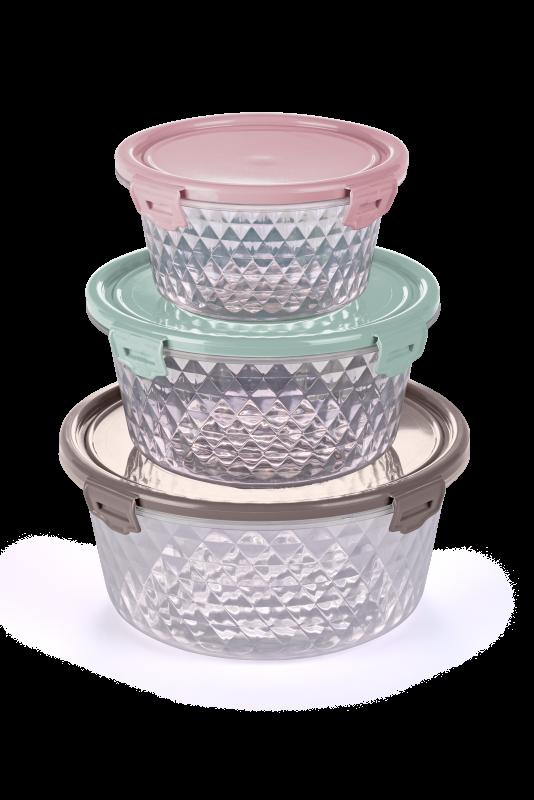 Imagem do produto Kit 3 potes Cristal Redondo