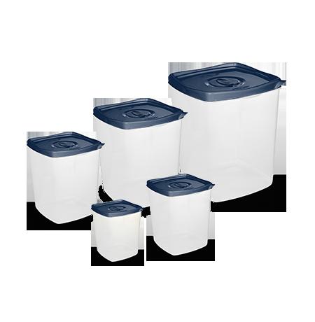 Imagem do produto: Conj. 5 Potes Quadrados 2903 - Azul Petróleo