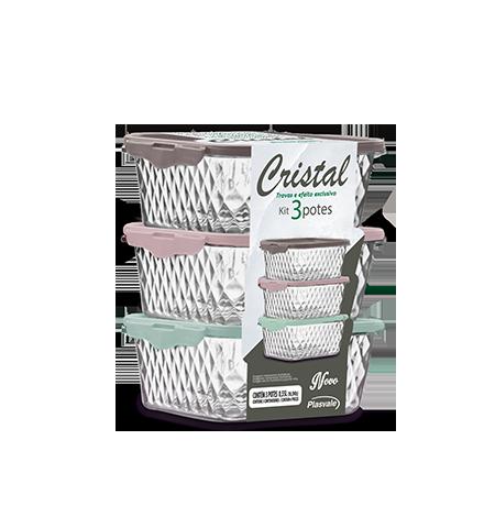 Kit 3 Potes Cristal 0,55L
