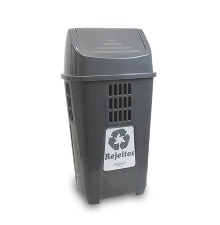 Imagem do produto: Lixeira Basculante 50L Rejeitos 2232 - Cinza Escuro