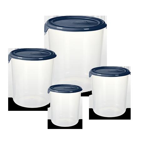 Imagem do produto: Conj. 4 Potes Redondos 2903 - Azul Petróleo